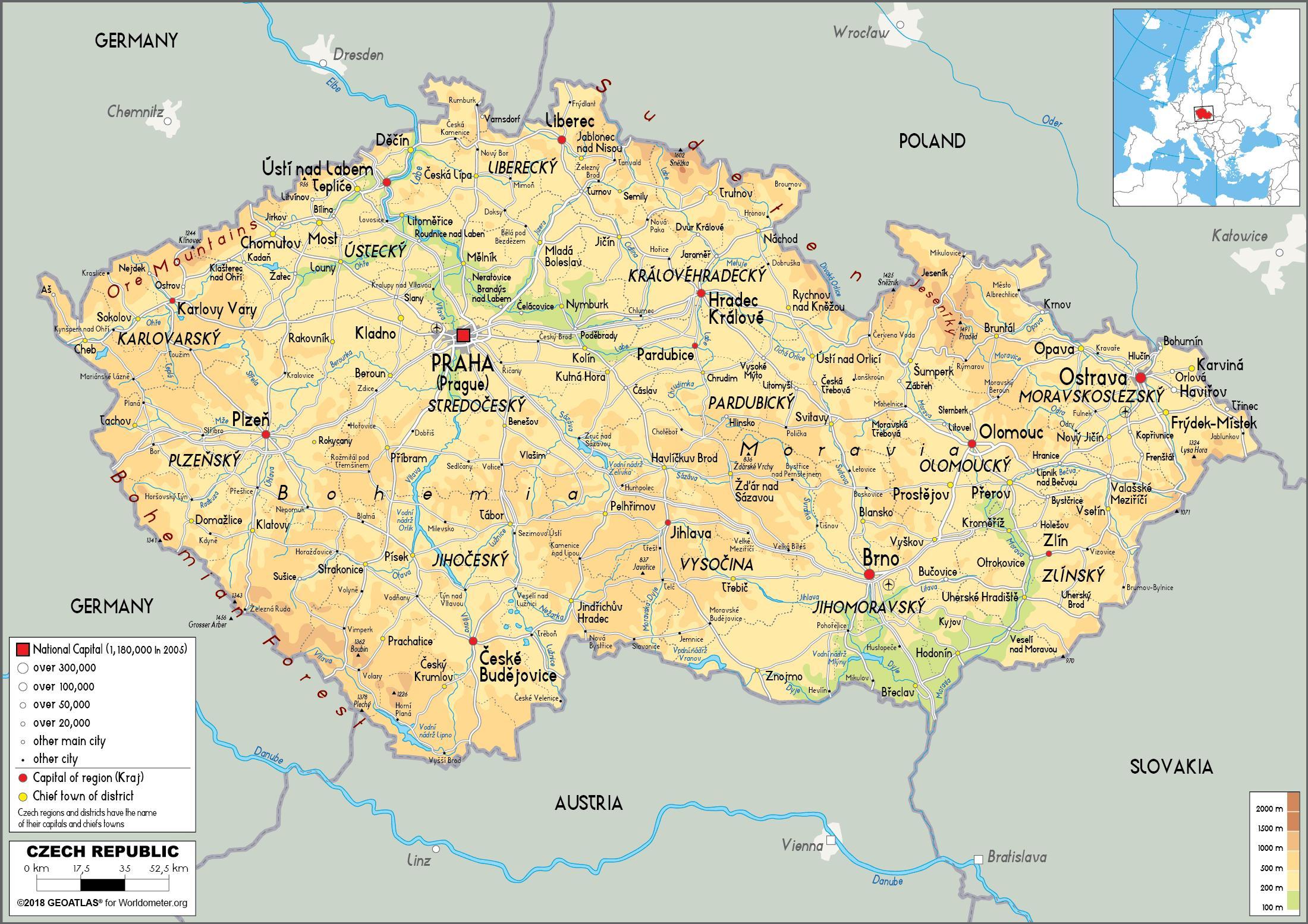 Repubblica ceca mappa fisica fisica mappa della for Home page repubblica